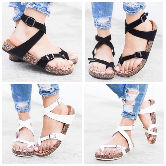 Shoes - Black or white strappy buckled cork sandals